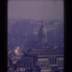 1959: the camera pans to show the city scape of a town ROME Stock Footage