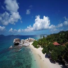 Aerial view of spring bay, Virgin Gorda, British Virgin Islands Stock Footage