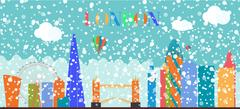 UK, Silhouette Christmas and New Year London city background. Ve Piirros