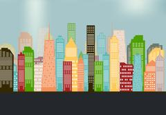 Colorful Silhouette City Background. Vector Illustration Stock Illustration