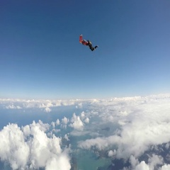 Skydiving at the beach Stock Footage