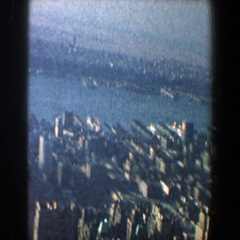 1960: panning of many buildings and other structures located outdoors NEW YORK Stock Footage