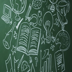 School subjects drawn on chalkboard, pan left to space, shot on R3D Stock Footage