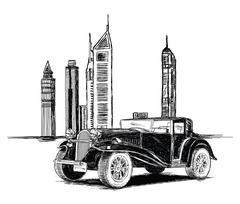 Modern Dubai Buildings and Vintage Car Vector Illustration Piirros