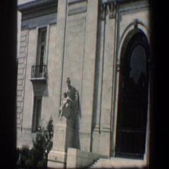 1961: a magnificent building with sculptures, arch doors and stony works. Stock Footage