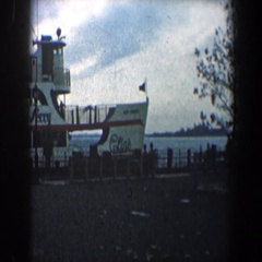 1960: passengers wait for launch of the statue of liberty ferry  Stock Footage