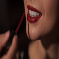 Make-up lipstick beautiful bright girl with red lipstick on the wedding day Stock Footage