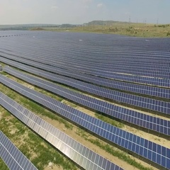 Aerial shot of solar panels - solar power plant. Stock Footage