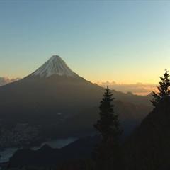 Mt Fuji near dusk in autumn wide angle Stock Footage