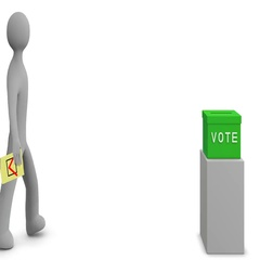 3d man casts vote into green ballot box. Loop. Alpha channel. Stock Footage