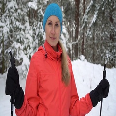 happy woman ready to cross country skiing Stock Footage