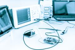 Measuring devices in the electronics lab Stock Photos
