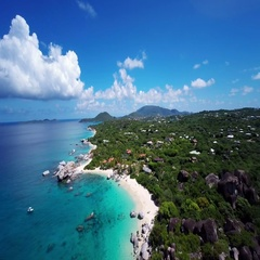 Aerial view of spring bay, Virgin Gorda, British Virgin Islands Stock Footage