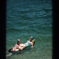 1957: let go of all of your worries and come and enjoy this day in the sun Stock Footage
