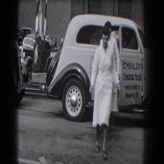 1938: nurses getting out of their ride, walking into work. READING, PENNSYLVANIA Stock Footage