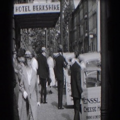 1938: people going to and fro outside a hotel. READING, PENNSYLVANIA Stock Footage