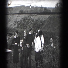 1938: group of people gathered around tables outside READING, PENNSYLVANIA Stock Footage