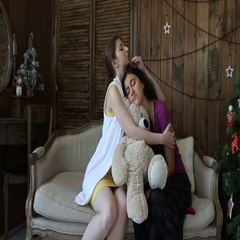 The embrace of two girls Stock Footage