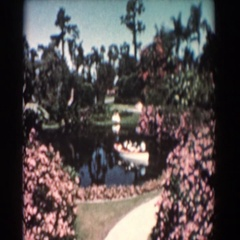 1957: floating boat in the midst of a flower heaven. FLORIDA Stock Footage