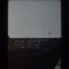 1961: side view of a very long boat. CALIFORNIA Stock Footage