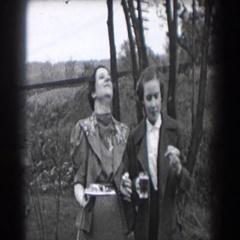 1938: happy family takes photos & enjoys delicious food READING, PENNSYLVANIA Stock Footage