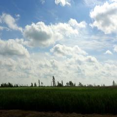 4K. Movement of the clouds over the lake Batayskoye. Bataysk, Rostov Region Stock Footage