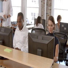 Businesspeople Working At Computers In Busy Modern Office Stock Footage