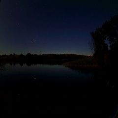 4K. Starry Moonlit night on the river Seversky Donets, Rostov Region, Russia,  Stock Footage
