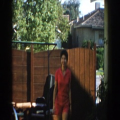 1962: pretty lady smiling and walking. NORTH HOLLYWOOD, CALIFORNIA Stock Footage