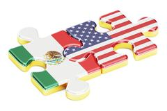 USA and Mexican puzzles from flags relation concept 3D rendering Stock Illustration