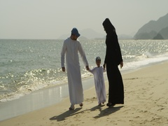 Arab family enjoying at the beach. Stock Footage