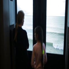 Family traveling on a train and looks through the window at the sea Stock Footage