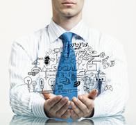 Businessman demonstrate his business plan Stock Photos