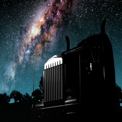 Lorry truck and Milky Way stars at night. Arkistovideo