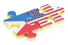 USA and Philippines puzzles from flags relation concept 3D rendering Stock Illustration