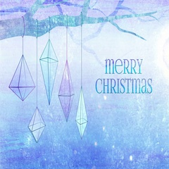 Christmas geometric ornaments background loop. Light blue with Merry Christmas. Stock Footage