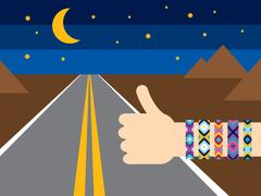 Hand with hippy friendship bracelets hitchhiking Stock Illustration