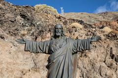 Jesus Christ statue at the base of the Teide aerial tramway Stock Photos