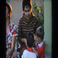 1962: children wanting to play the game themselves. GLENDALE, CALIFORNIA Stock Footage