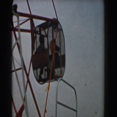 1961: rides at an amusement park go around. LOS ANGELES, CALIFORNIA Stock Footage