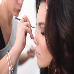 Lash maker increases eyelashes, make up artist making long lashes Stock Footage