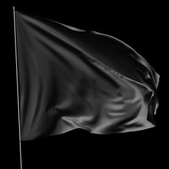 Black flag with flagpole waving in the wind Stock Footage