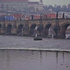 Prague, Karlov most Stock Footage