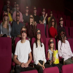 Audience In Cinema Watching 3D Horror Film Shot On R3D Stock Footage