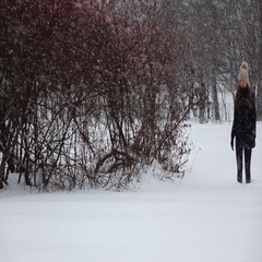 Woman stand at snowfield, big flakes of falling snow, slow motion shot Stock Footage
