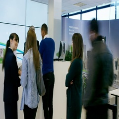 4K Time lapse of busy modern bank, friendly staff assisting customers Stock Footage