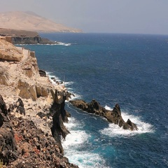 View to famous Ajuy stone beach, Fuerteventura, Canary islands Stock Footage