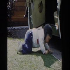 1962: kid getting up GLENDALE, CALIFORNIA Stock Footage