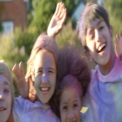 Portrait Of Children Celebrating Holi Festival Stock Footage