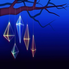 Christmas geometric ornaments background loop. Dark blue version with copy space Stock Footage